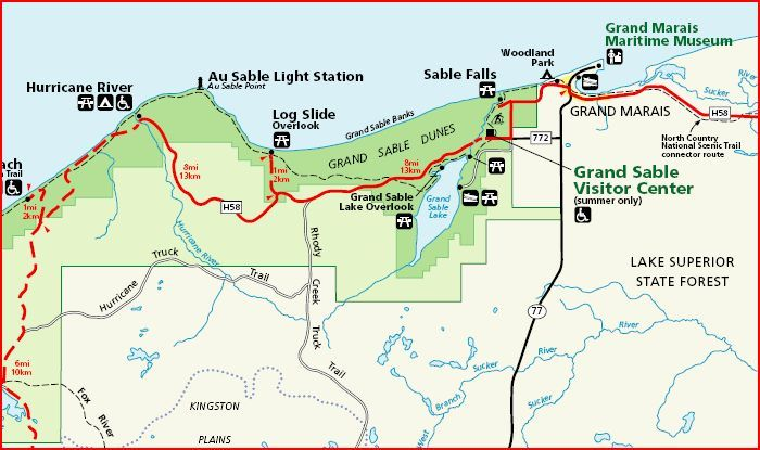 Picture Rocks Michigan Map.Pictured Rocks National Lakeshore