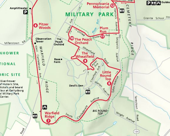 Gettysburg NMP PA - Gettysburg pa in us map